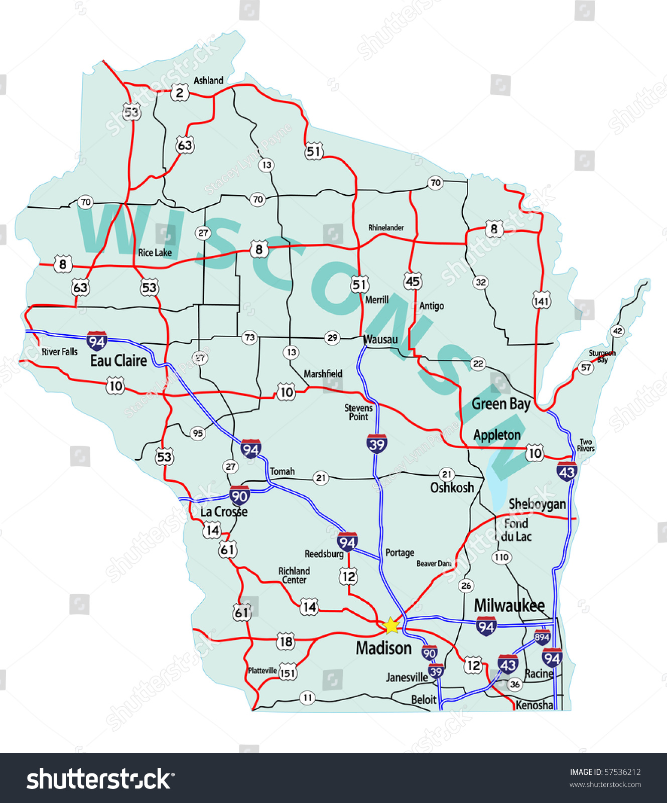 Wisconsin State Road Map Interstates Us Stock Vector - Wi road map
