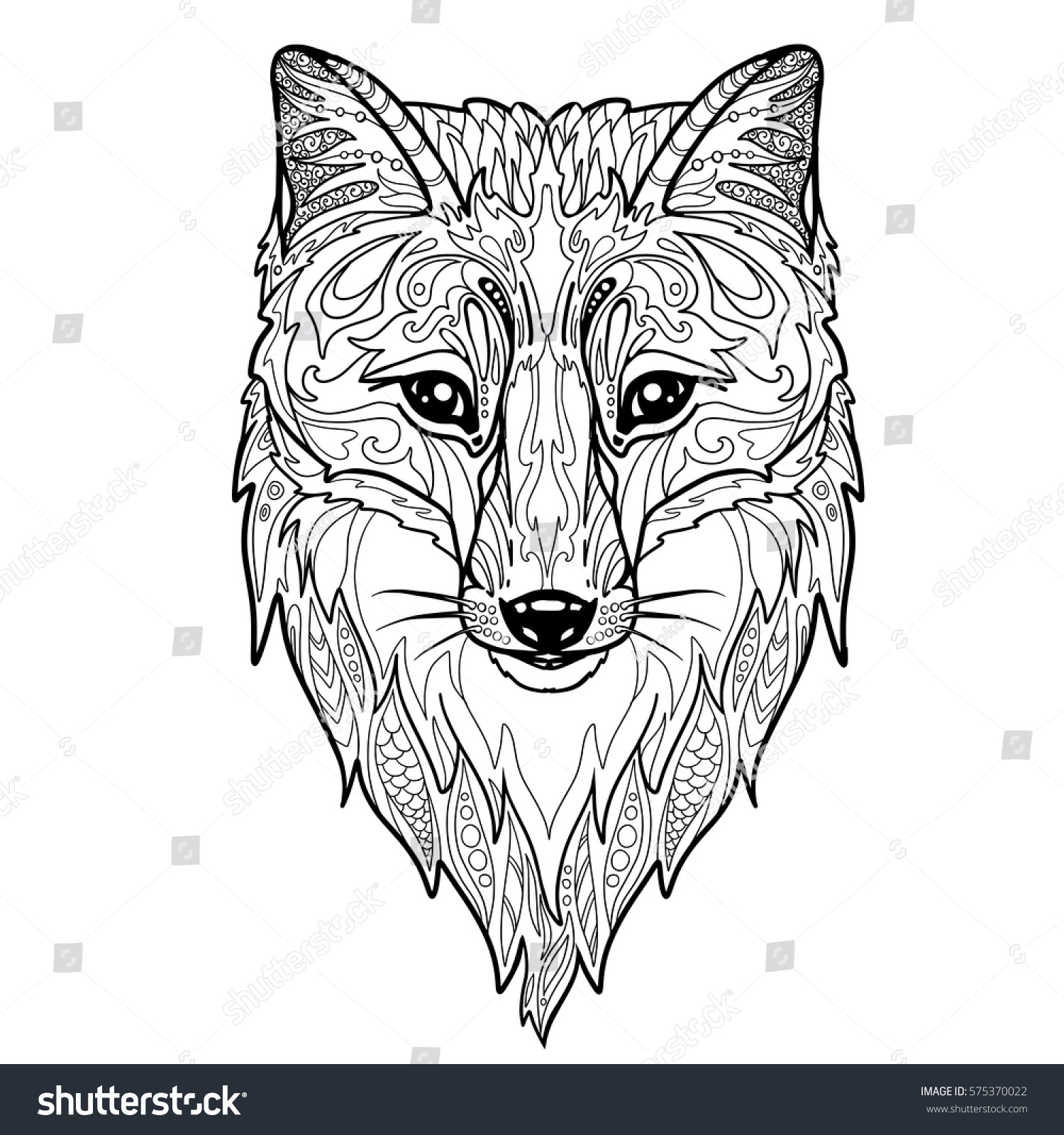 Fox Head Doodle Coloring Book Page Stock Vector Royalty Free 575370022