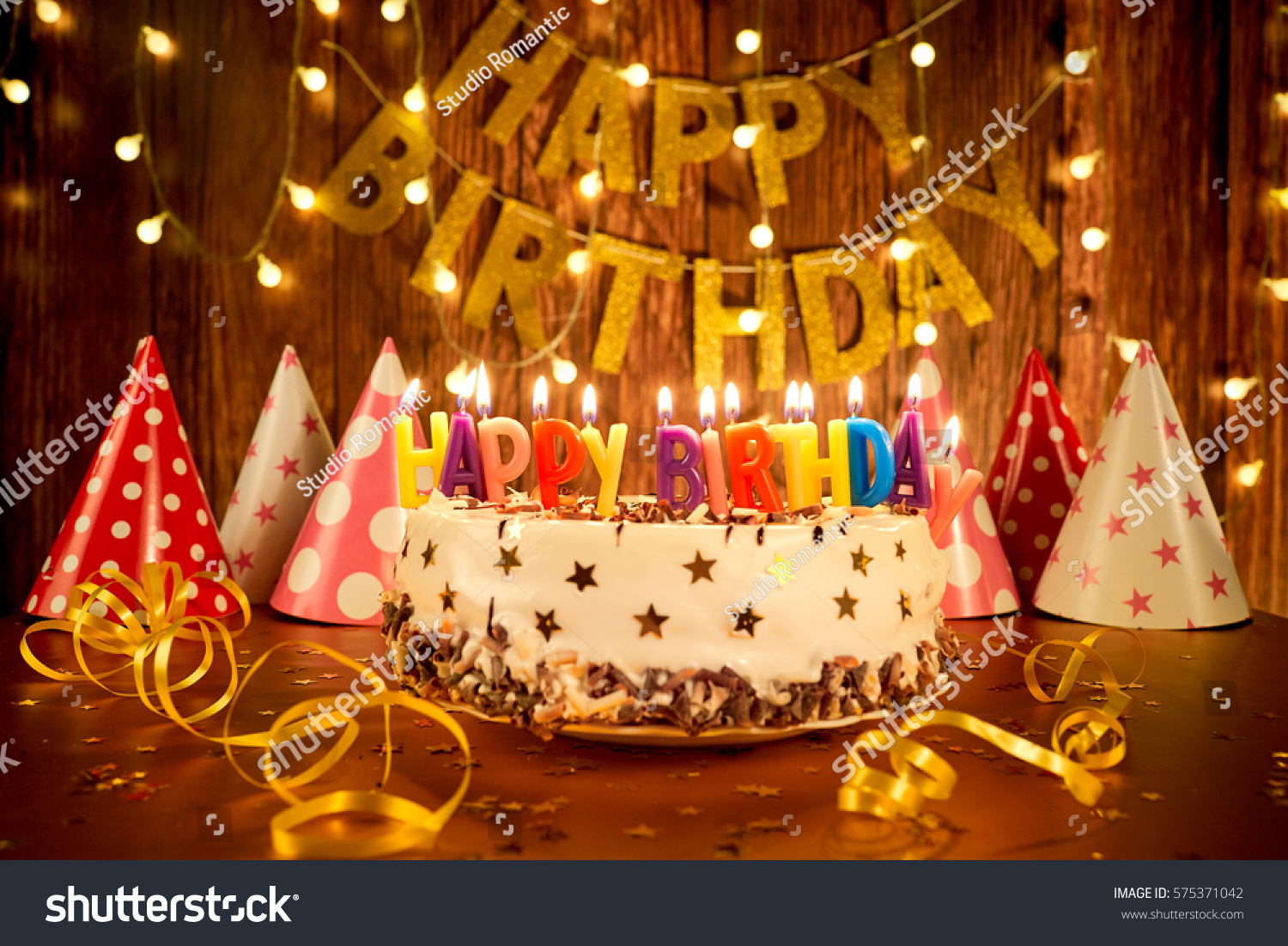 Happy Birthday Cake Candles On Background Stock Photo Edit Now