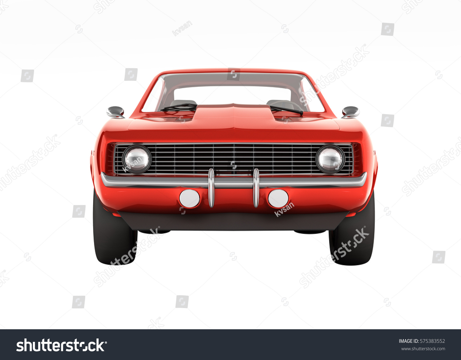 Muscle Car Front View Without Shadow Stock Illustration