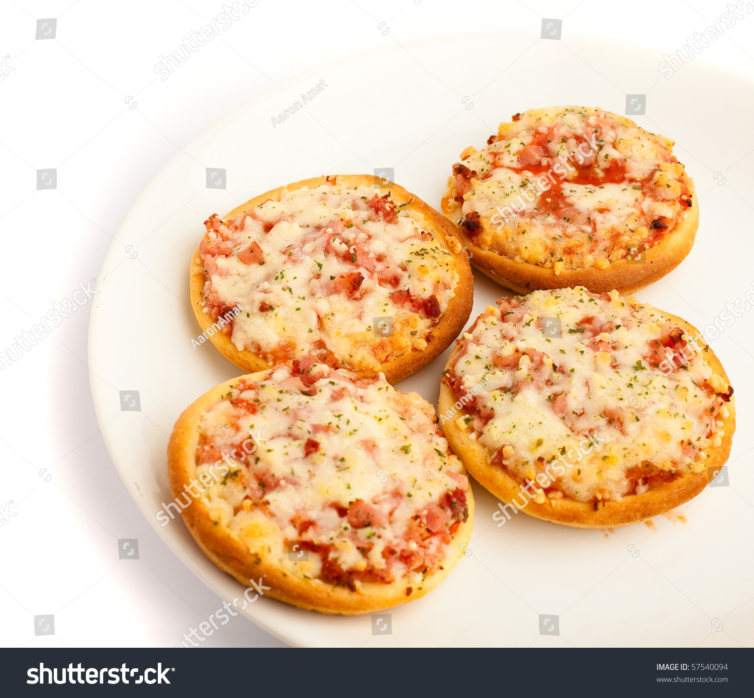 Unhealthy Food Plate Small Pizzas Stock Pho...