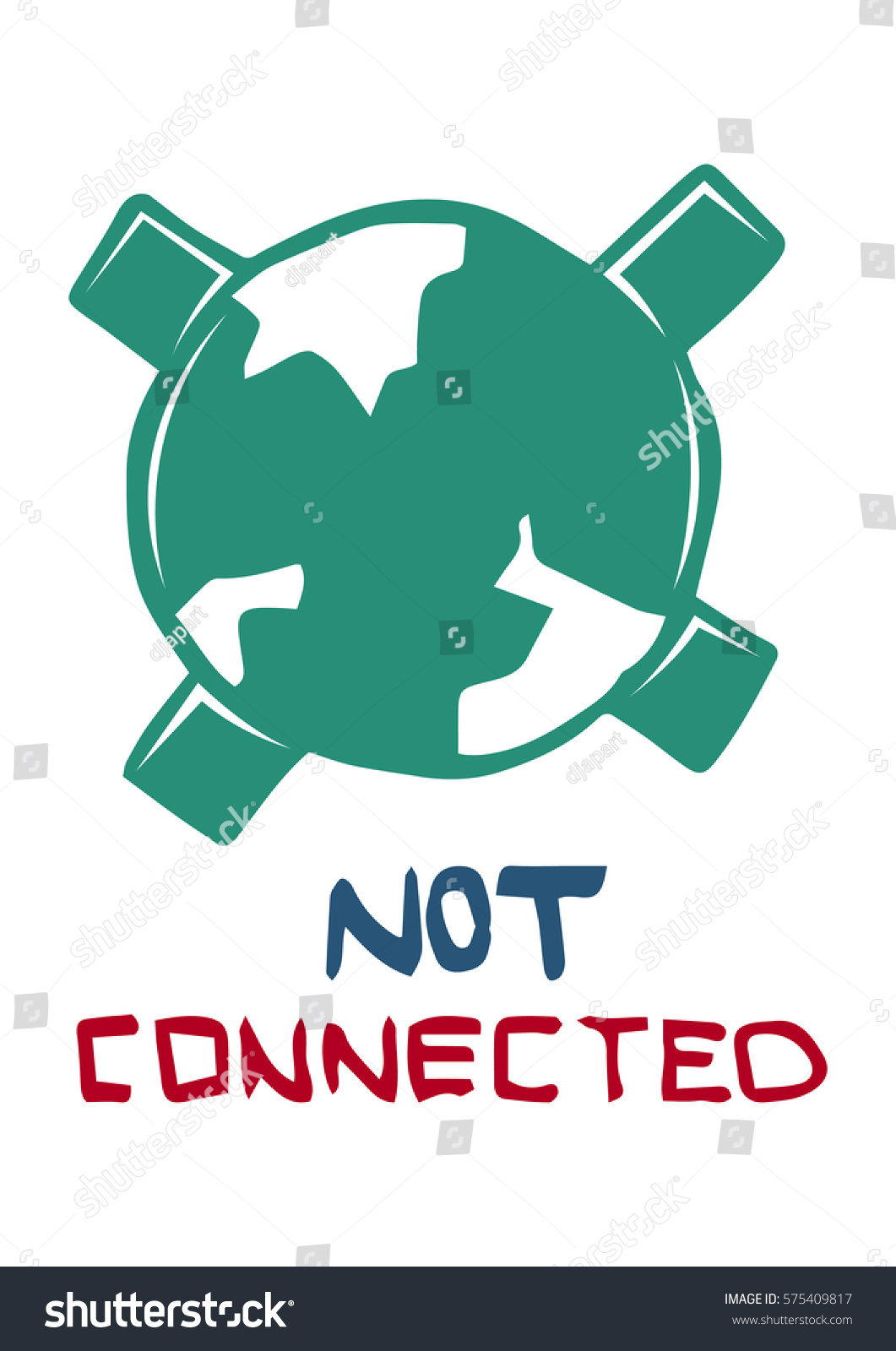 No internet connection symbol green globe stock vector 575409817 no internet connection symbol with green globe and cross sign on white background buycottarizona Images