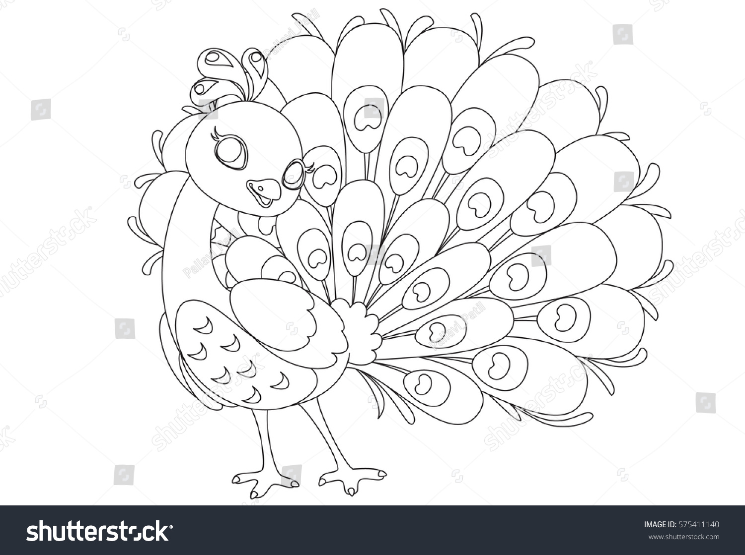 Beautiful Peacock Cartoon Outline Drawing Color Stock