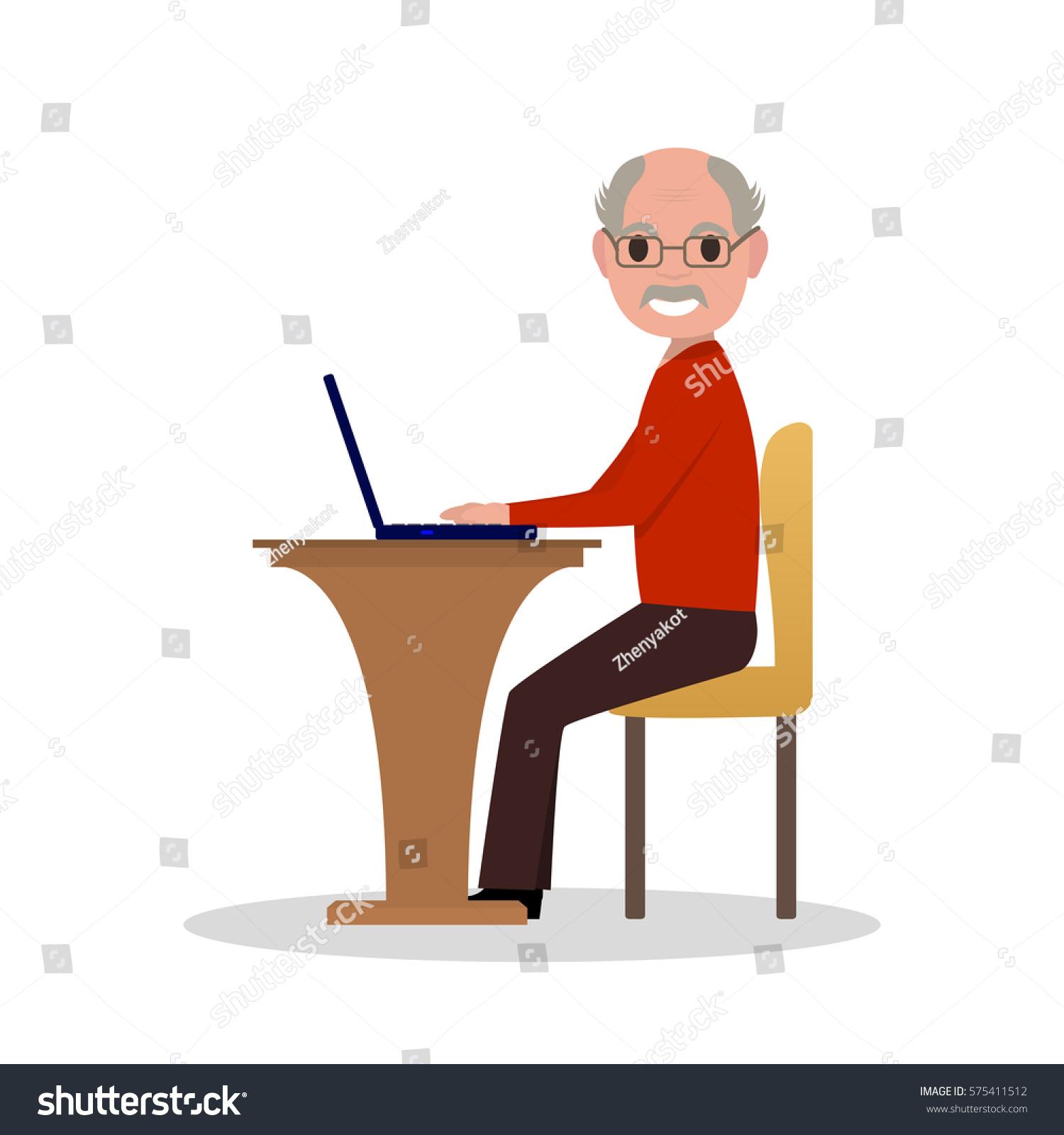 Vector Illustration Cartoon Old Man Sitting Stock Vector ...