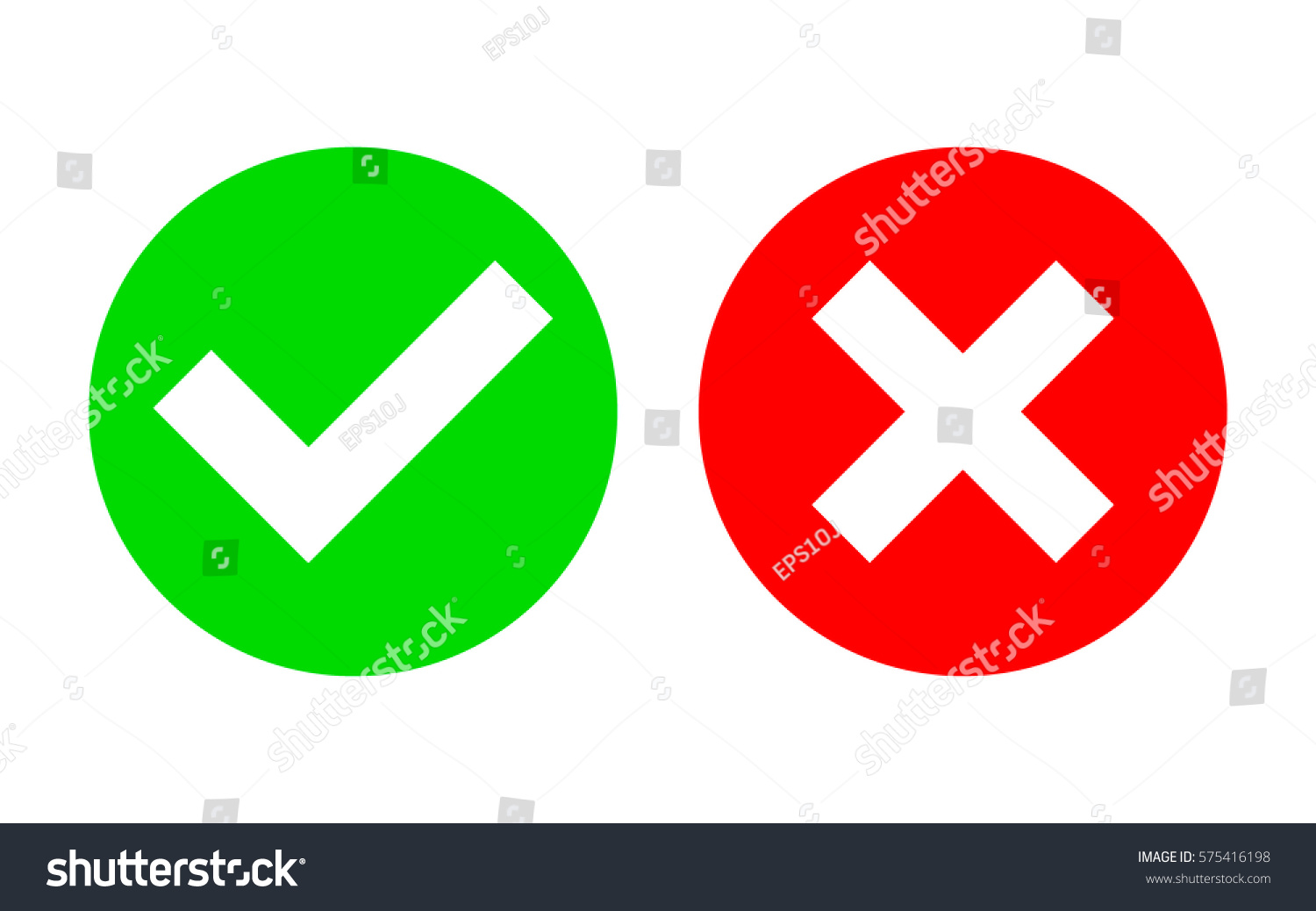 Check Mark X Mark Icon Vector Stock Vector 575416198 ... X And Check Icon
