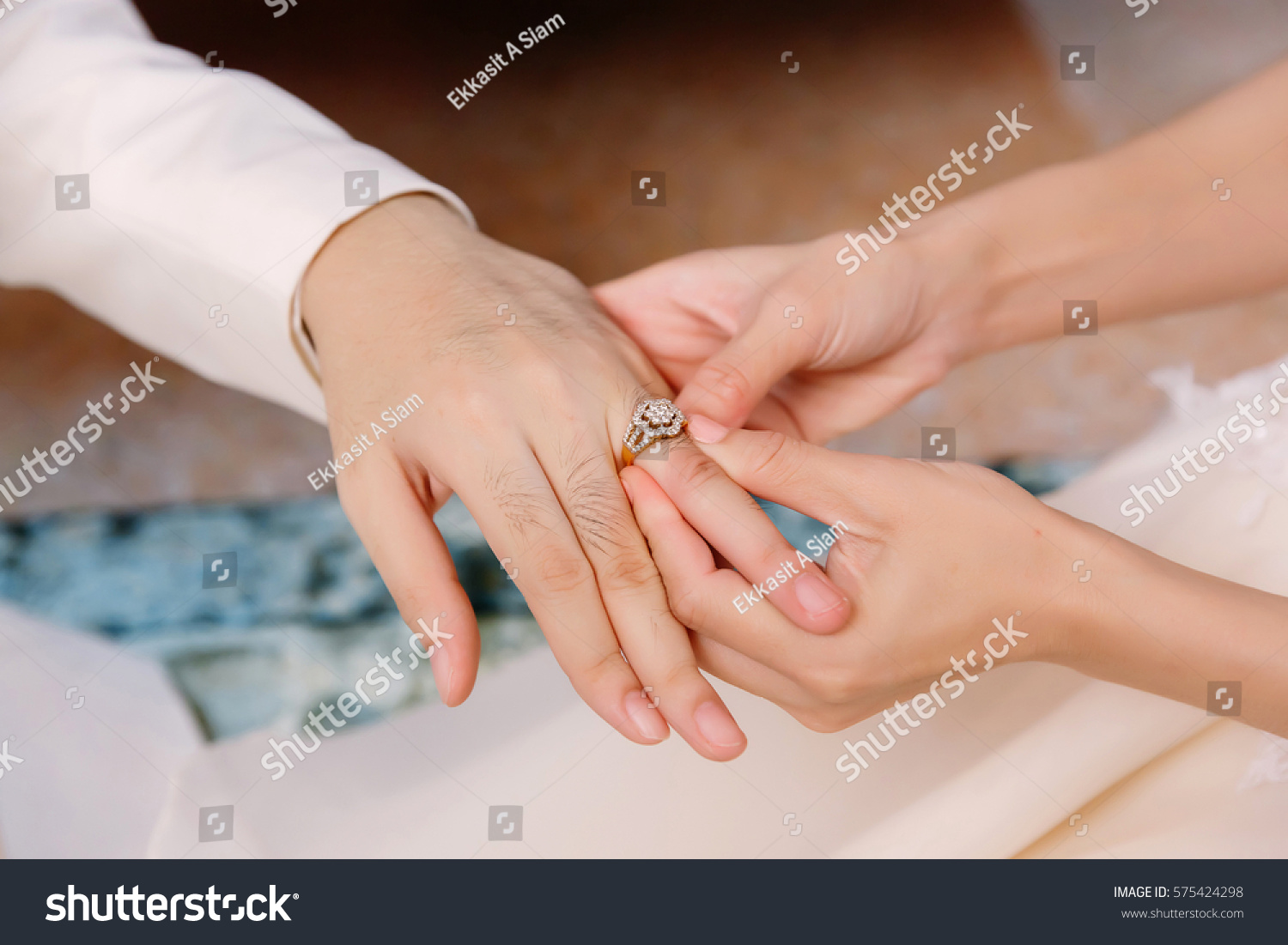 Hand Lover Wearing Ring On Her Stock Photo 575424298 Shutterstock