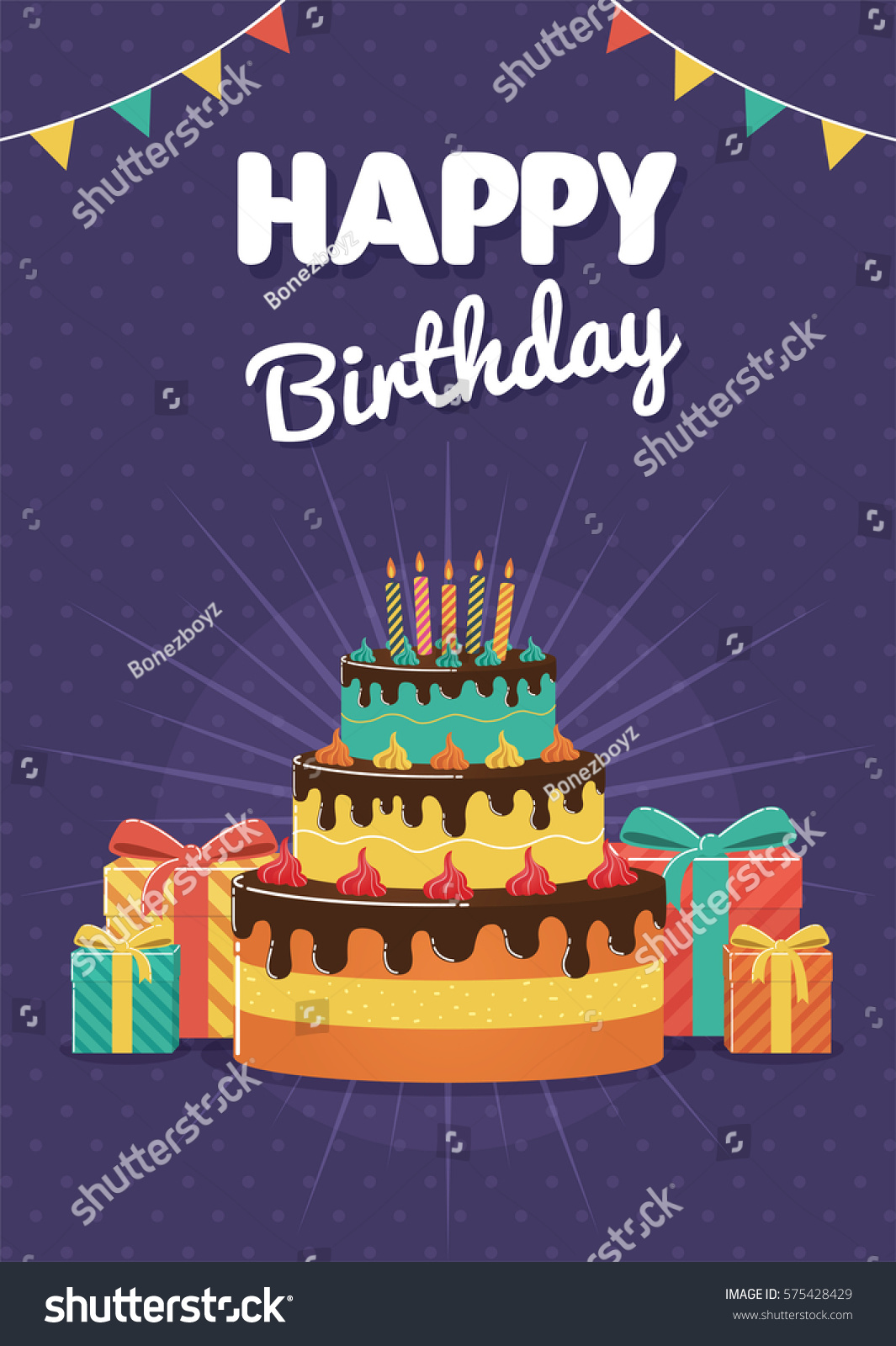 Birthday Greeting Invitation Card Birthday Cake Stock Vector