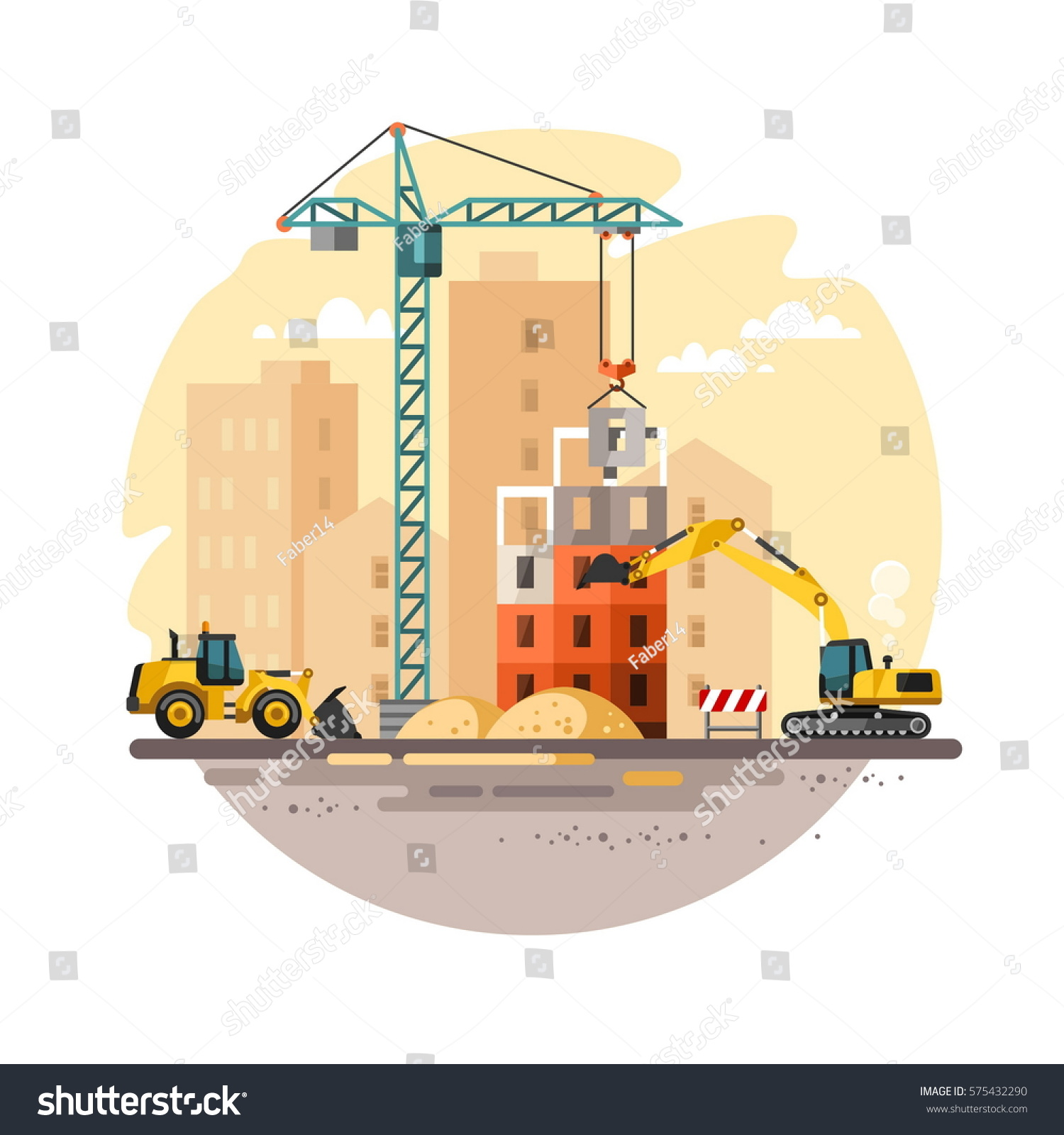 Construction site building house vector illustration stock for Building site house