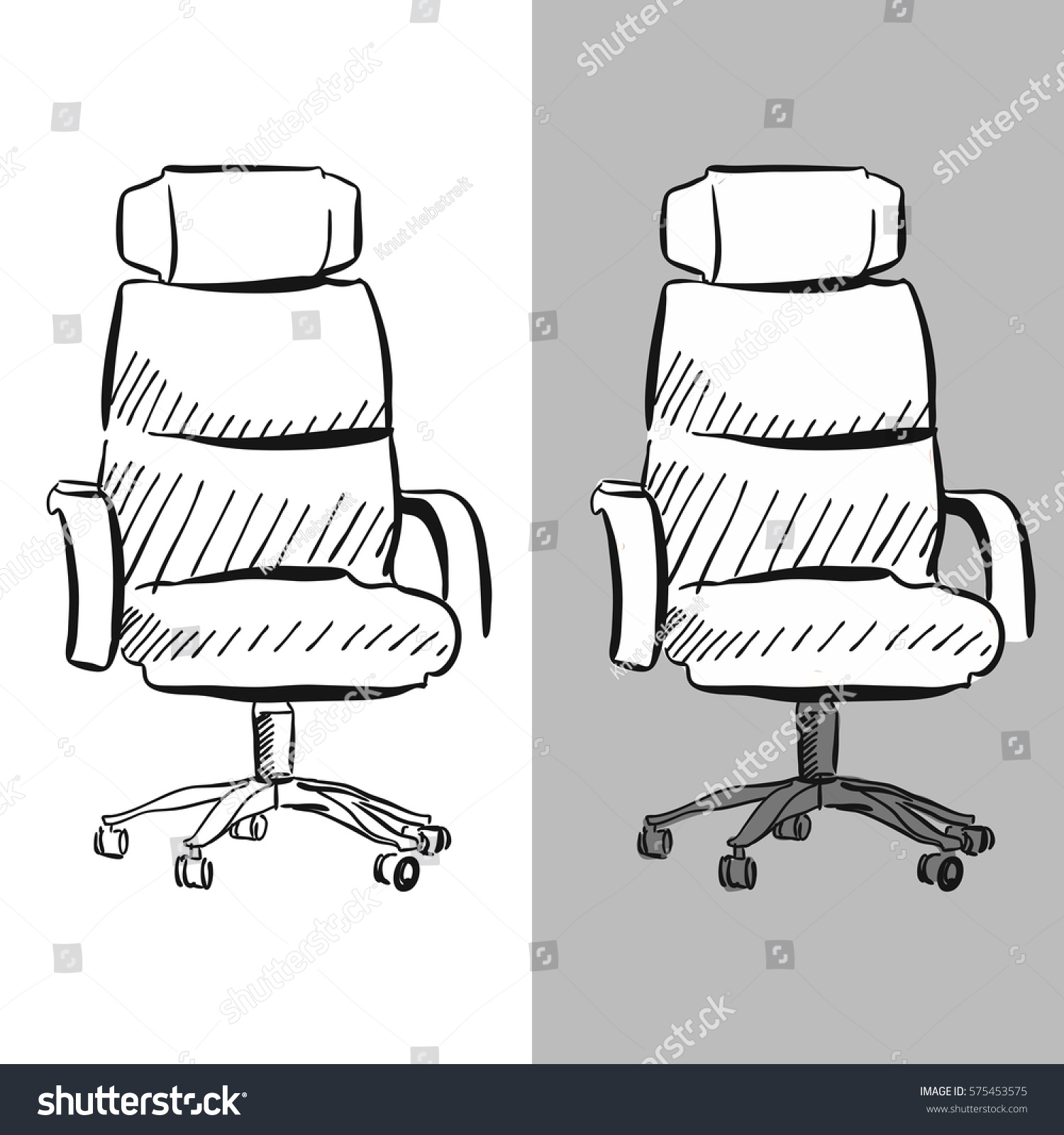 Office Chair Vector Sketch Hand Drawn Clipart