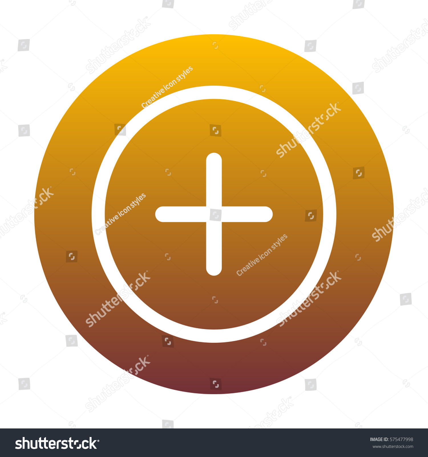 Positive symbol plus sign white icon stock vector 575477998 positive symbol plus sign white icon in circle with golden gradient as background isolated biocorpaavc Choice Image