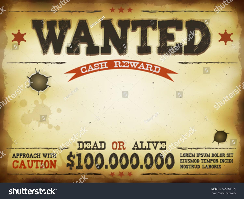 Wanted Vintage Western Poster Illustration Vintage Vector de ...