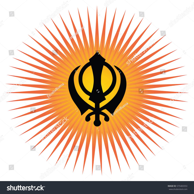 Main Symbol Sikhism Sign Khanda White Stock Illustration 575483353