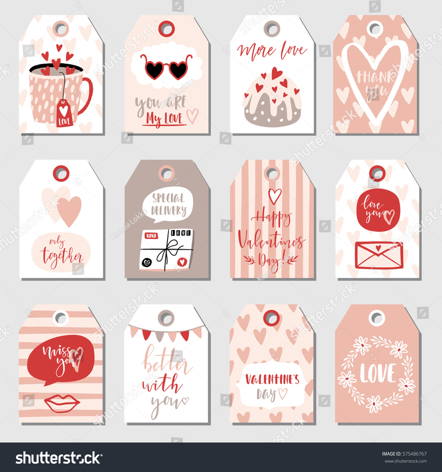 Valentines Day Collection With 12 Gift Tags And Labels Perfect For Box Stickers