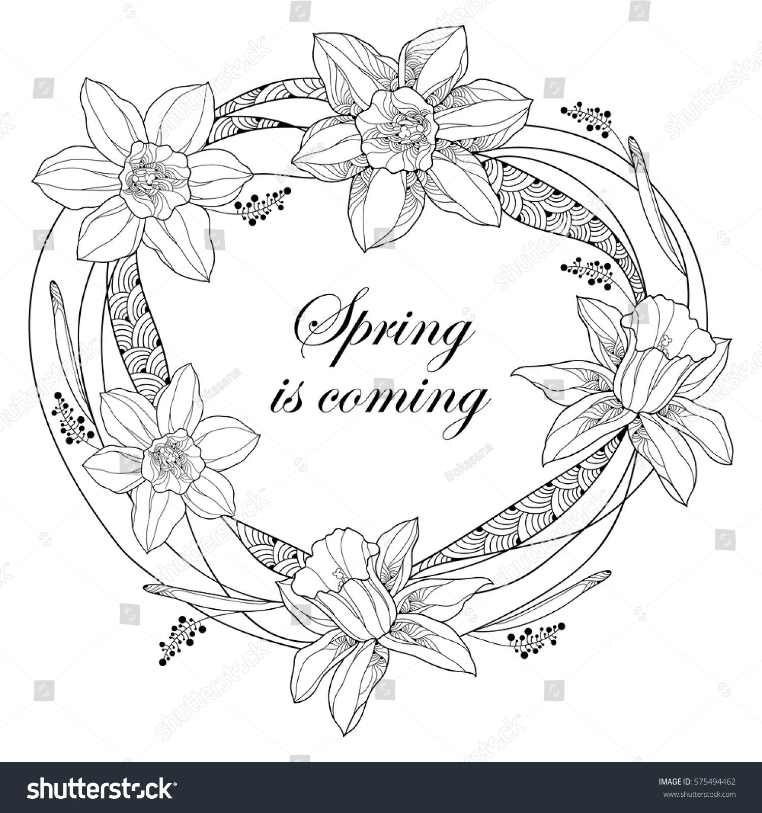 Vector round frame with pink flowers on white background in pastel - Vector Round Frame With Outline Narcissus Or Daffodil Flowers And Ornate Leaves Isolated On White Background