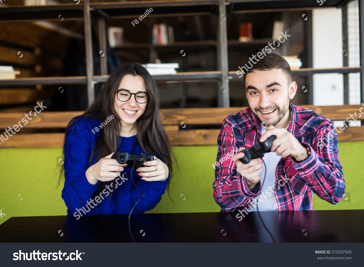 Cute Couple Playing Video Games Stock Photo Edit Now 575507509