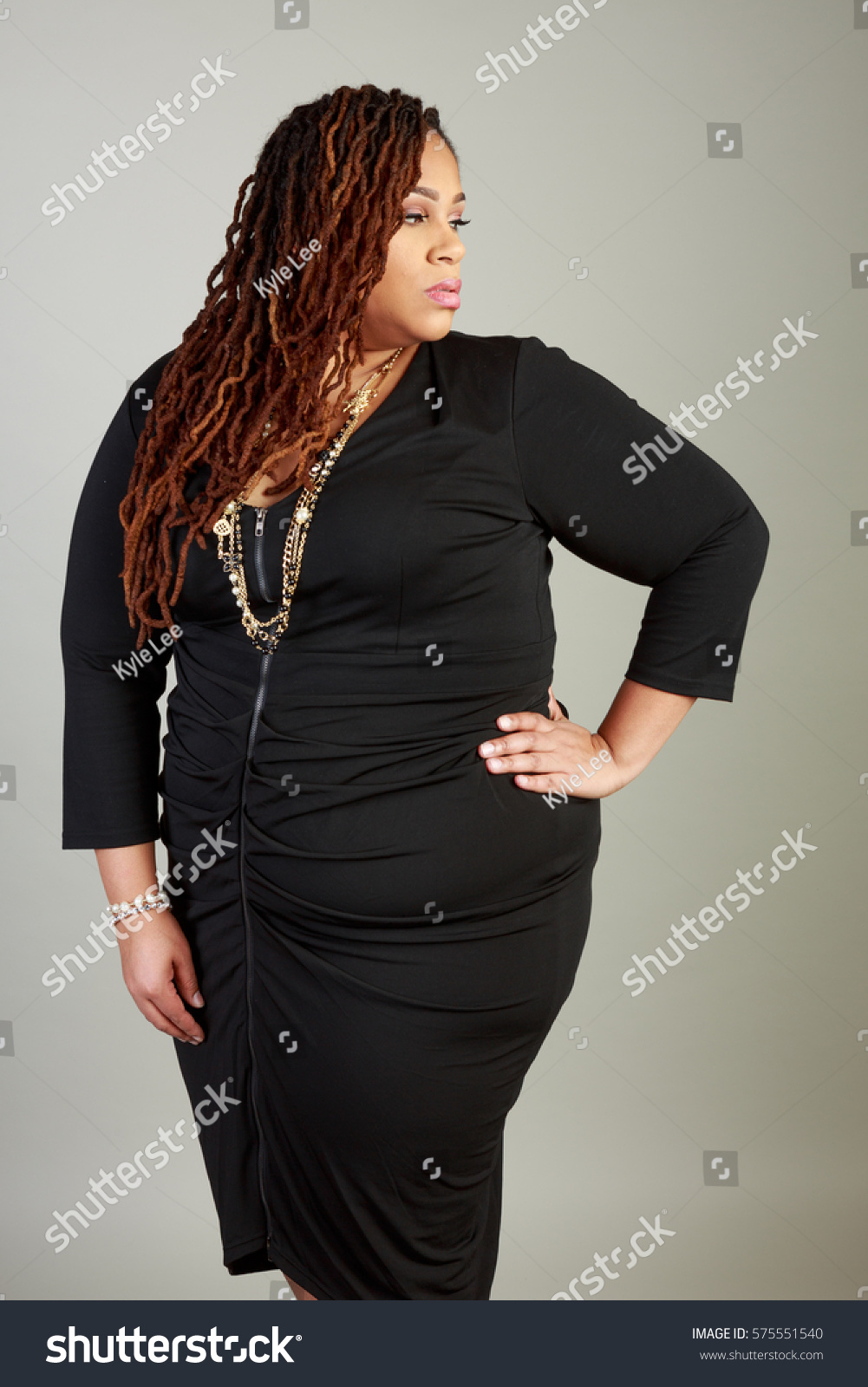 Plus Size African American Bbw Woman In The Studio