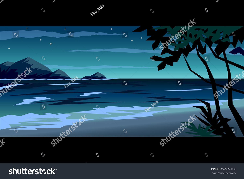 Tropical Beach Night Landscape Vector Illustration Stock 575555050