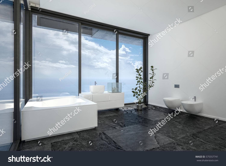 Hotel Penthouse Bathroom Minimalist Interior Design Stock ...