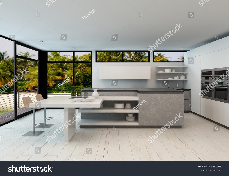 Open plan modern kitchen tropical villa stock illustration for Modern view decking