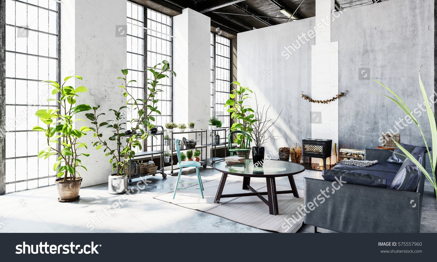 Room huge light windows green plants stock illustration 575557960 room with huge light windows green plants sofa and coffee table in grey minimalist geotapseo Gallery