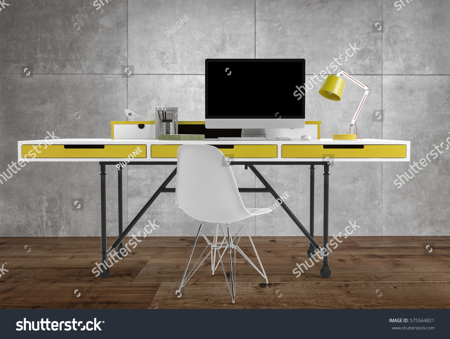 Front View Thin Office Desk Yellow Stock Illustration ...