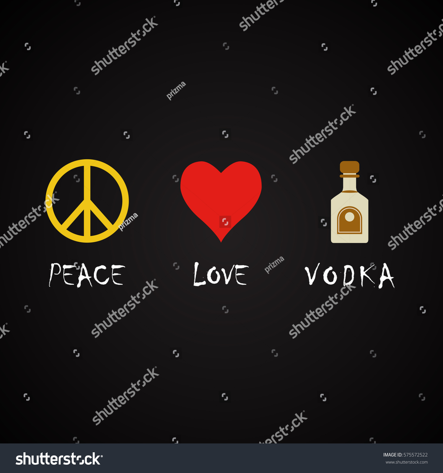 Peace Love Quotes Peace Love Vodka Funny Alcohol Quotes Stock Vector 575572522