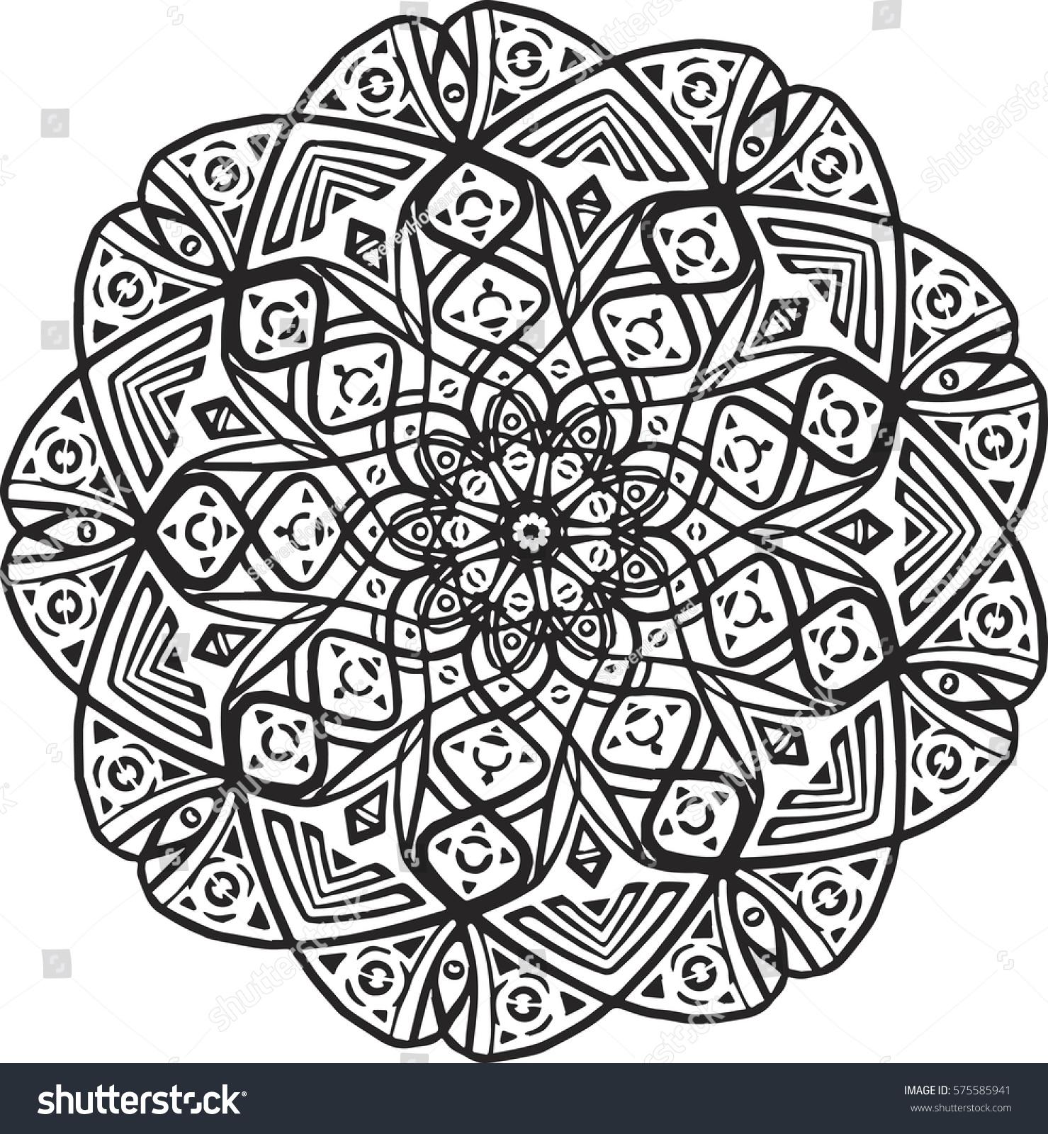 Vector Round Abstract Circle Mandala Style Abstract Mandala Background X Doodle Mandala