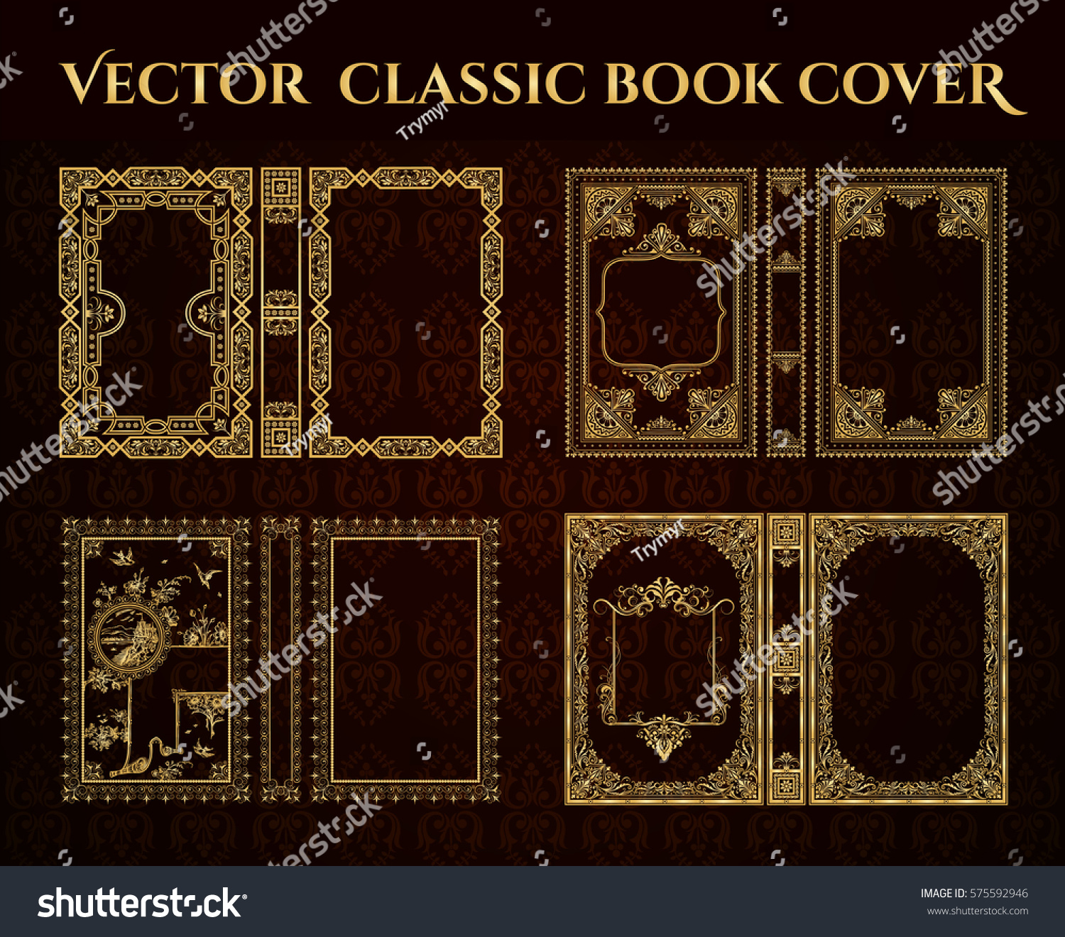 Pretty Book Cover Vector : Vector set book covers decorative vintage stock