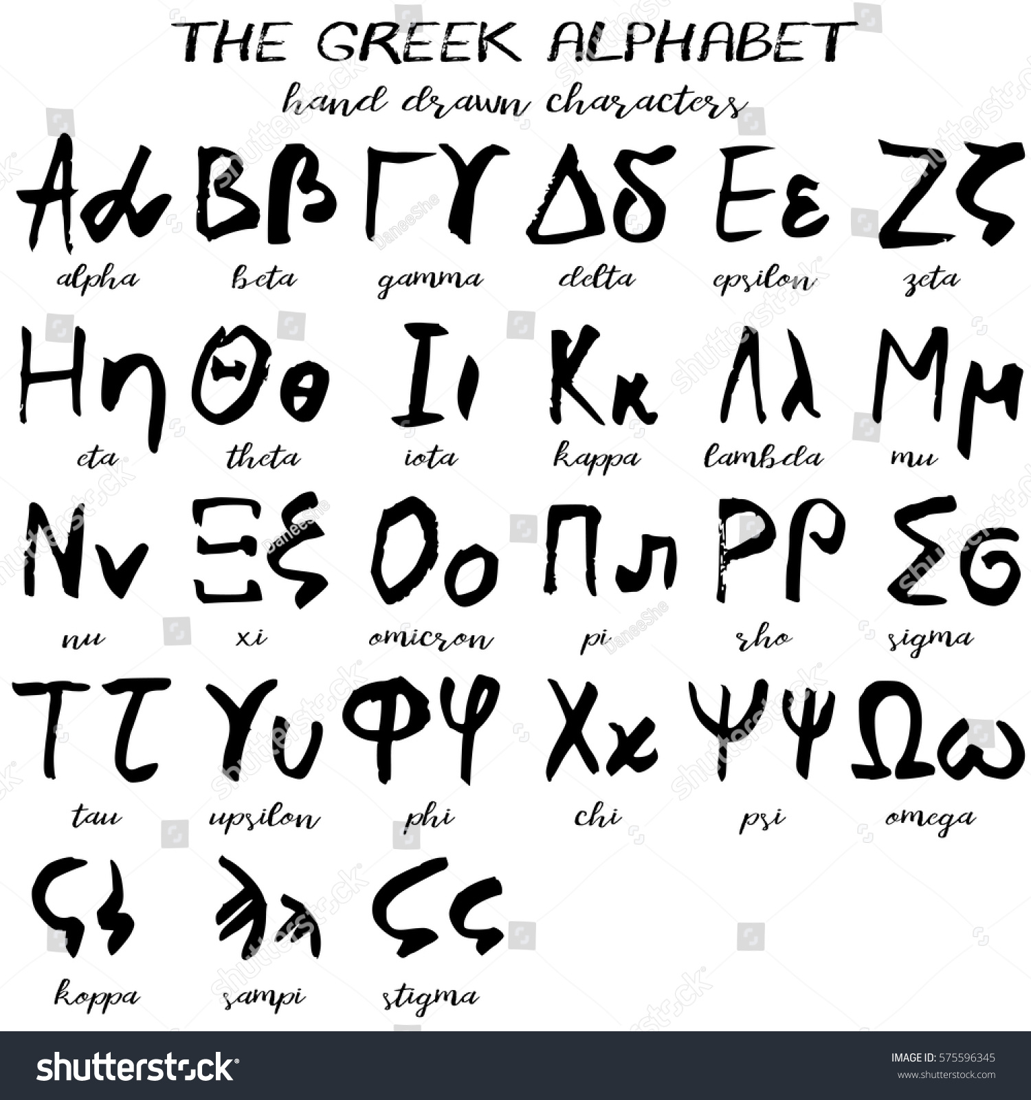 Hand Drawn Greek Alphabet Written Grunge Stock Vector Royalty Free
