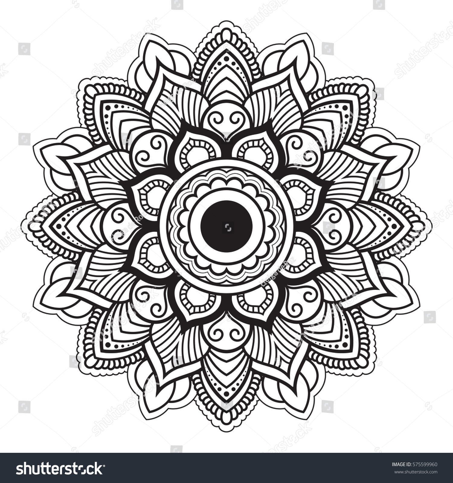 Line Art Poster Design : Mandala line art antistress coloring book stock vector