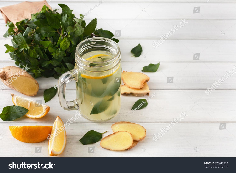 Detox Cleanse Drink Natural Lemonade Ingredients Stock Photo (Edit