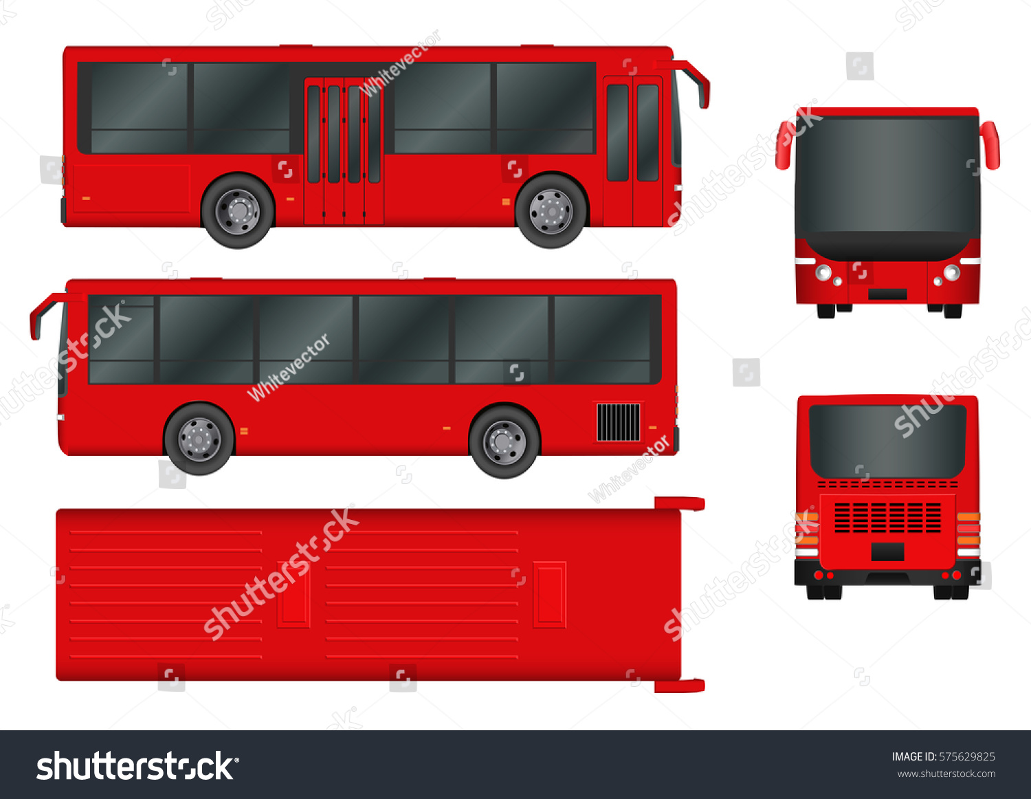 Red City Bus Template Passenger Transport Stock Vector ...