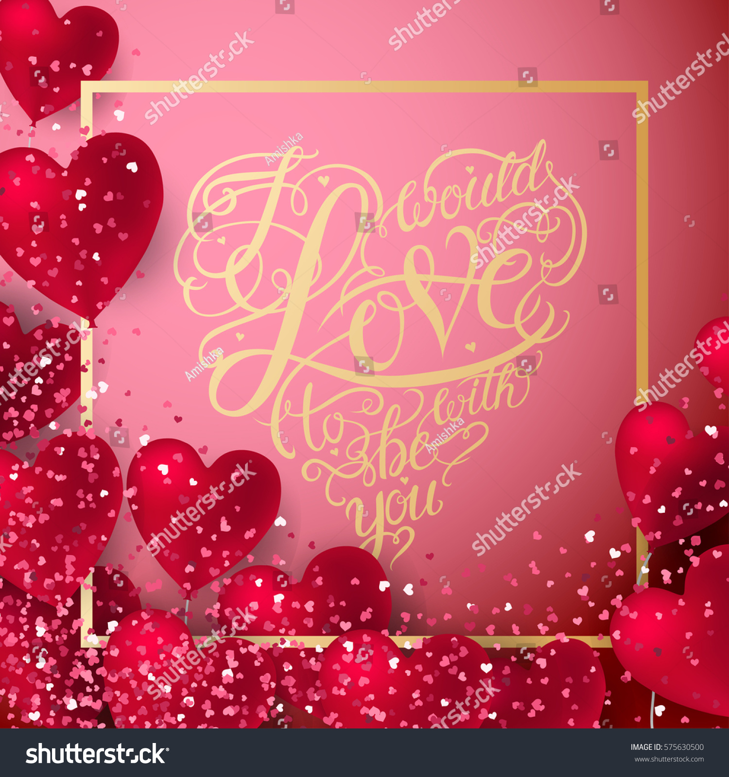 valentine hearts abstract composition vector illustration stock