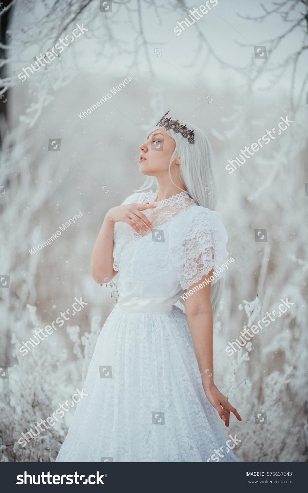 White Fairytale Princess Frozen World Vintage Stock Photo & Image ...