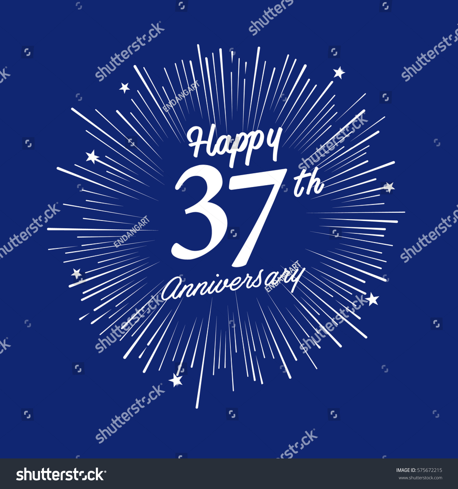 Happy 37th Anniversary Fireworks Star On Stock Vector Royalty Free