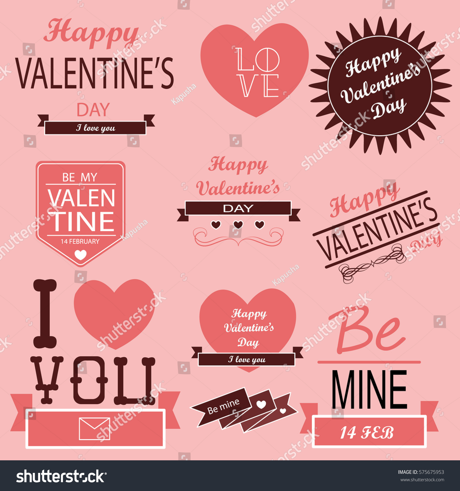 valentines day posters set - Valentines Posters