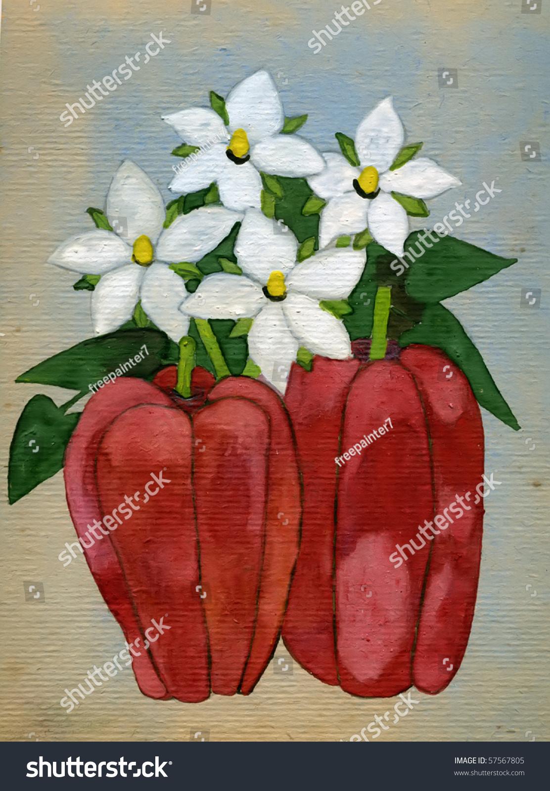 White Flowers Red Peppers Gouache On Stock Illustration 57567805