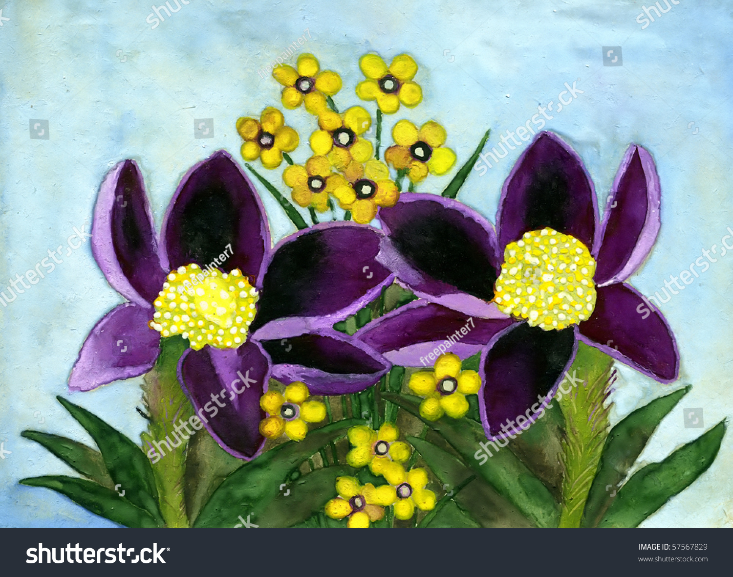 Royalty Free Stock Illustration Of Violet Yellow Flowers Gouache On