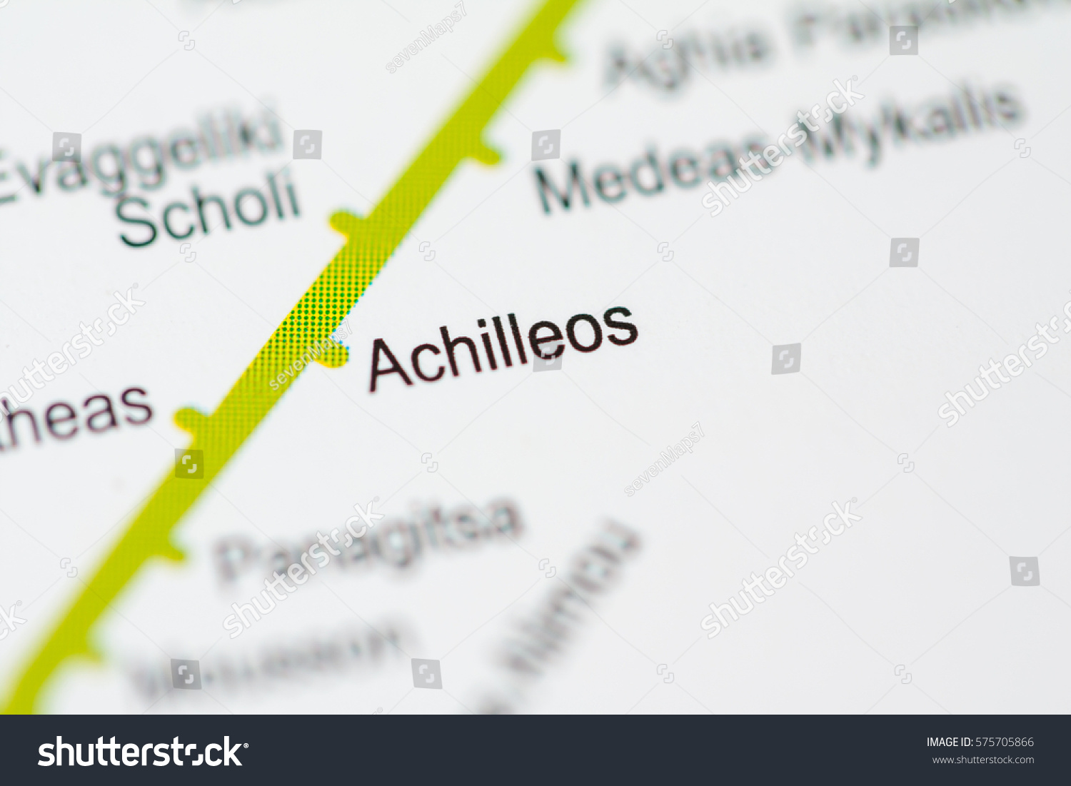 Athens Subway Map.Achilleos Station Athens Metro Map Stock Photo Edit Now 575705866