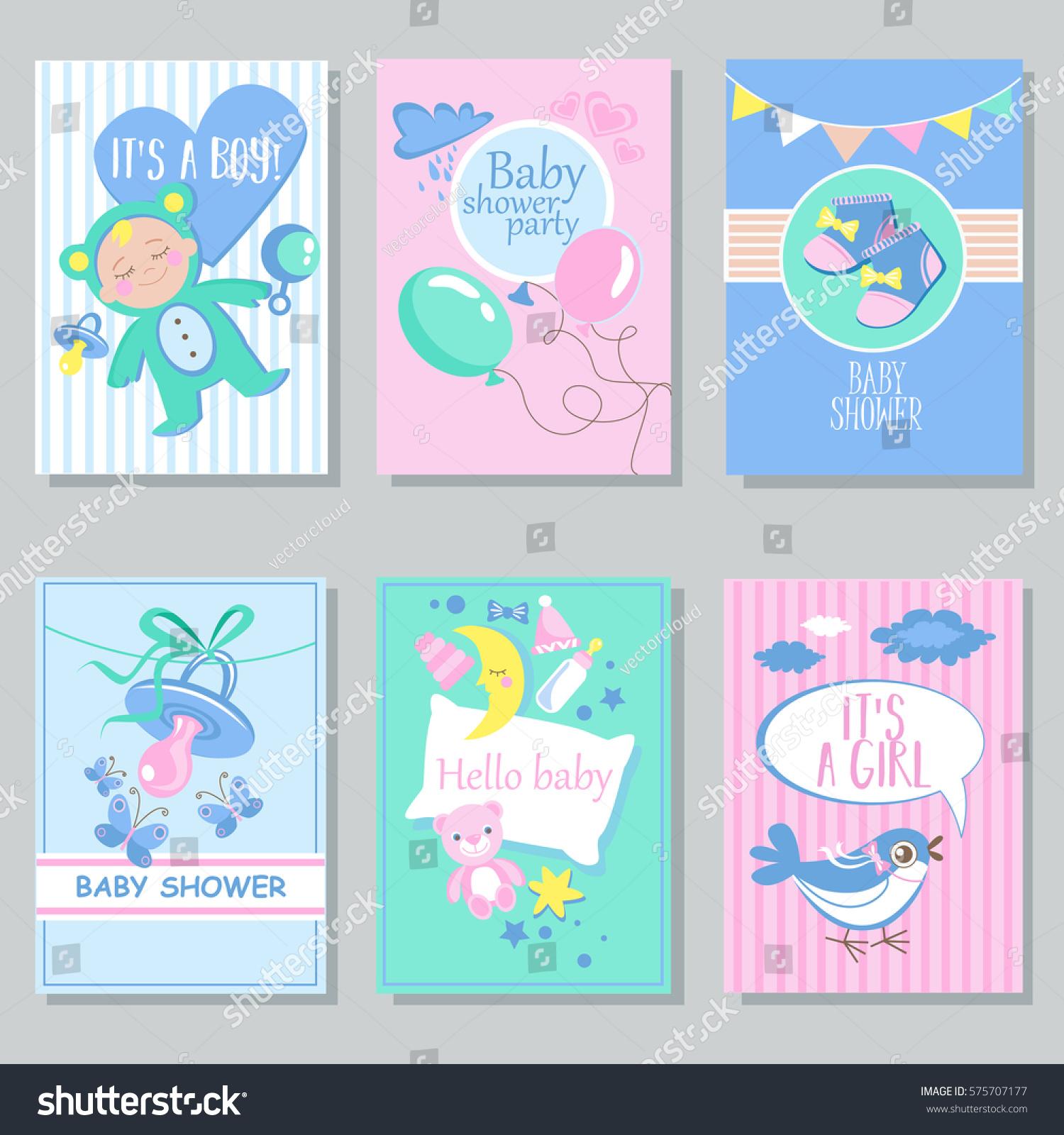 Baby Shower Card Set Boy Girl Stock Vector 575707177 Shutterstock
