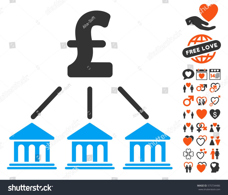 Pound bank organization pictograph bonus love stock vector pound bank organization pictograph with bonus love icon set vector illustration style is flat iconic buycottarizona