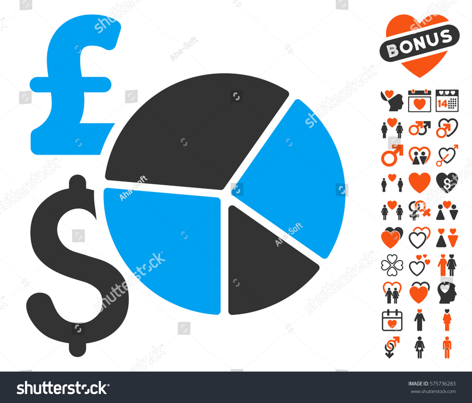 Pound Dollar Pie Chart Pictograph Bonus Stock Vector 575736283