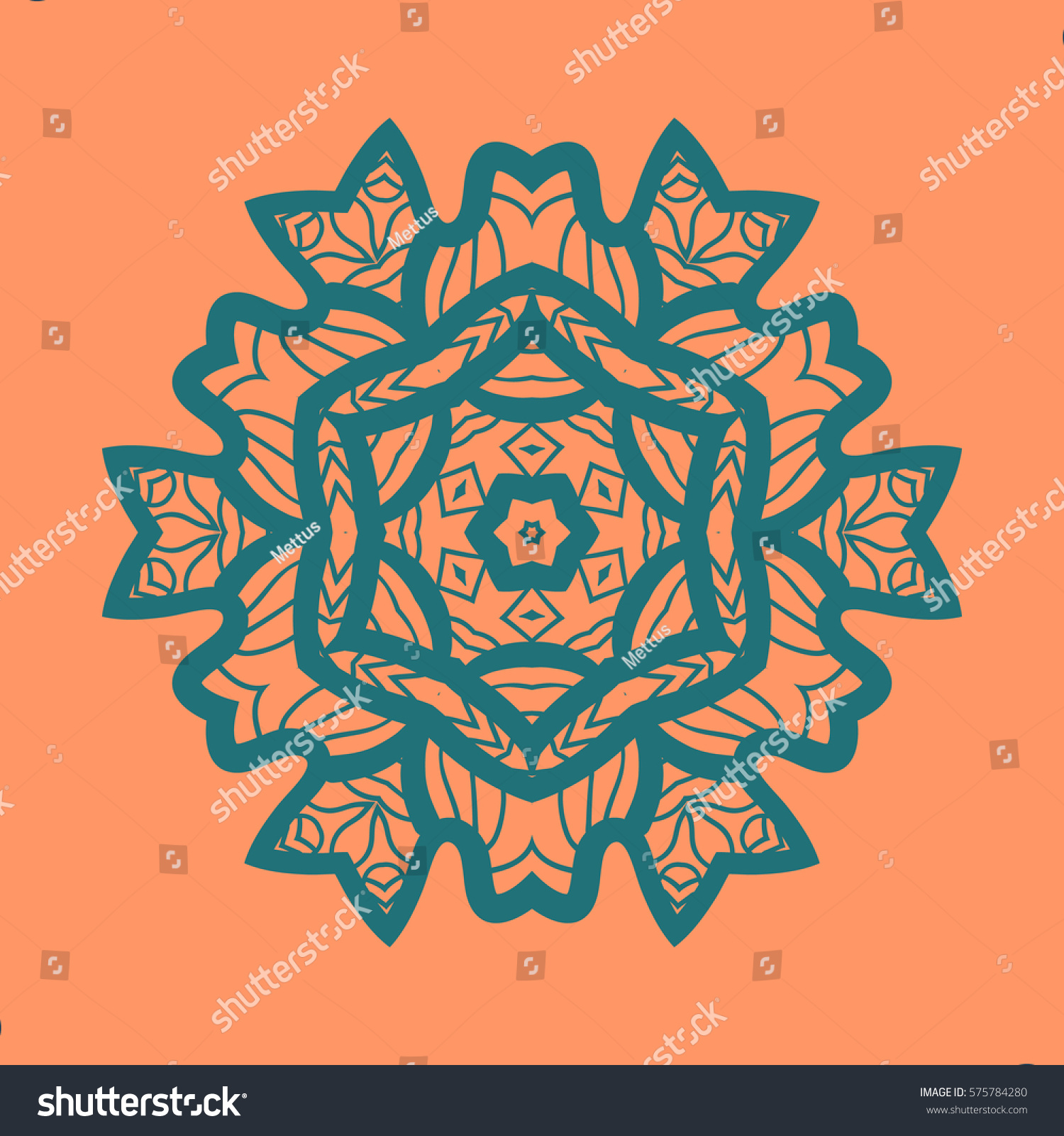 Outlined Print On Orange Color Background Mandala Flower For Colouring Work Relaxation Adult Zentangle
