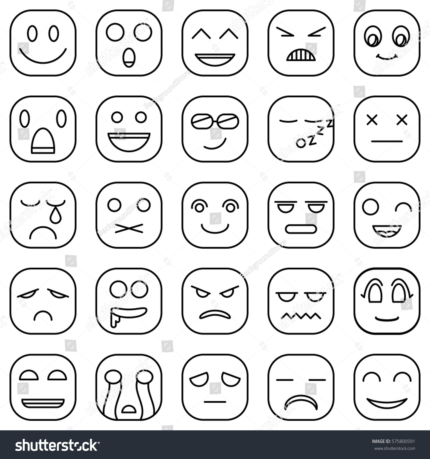 Royalty free lines emoticons faces emoji style 575800591 stock lines emoticons faces emoji style vector icons set 575800591 buycottarizona Images