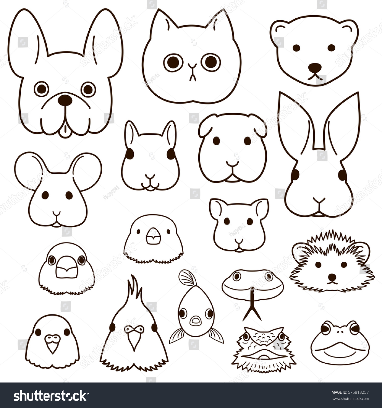 Line Drawing Of Animal Faces : Pet animals faces line art set stock vector