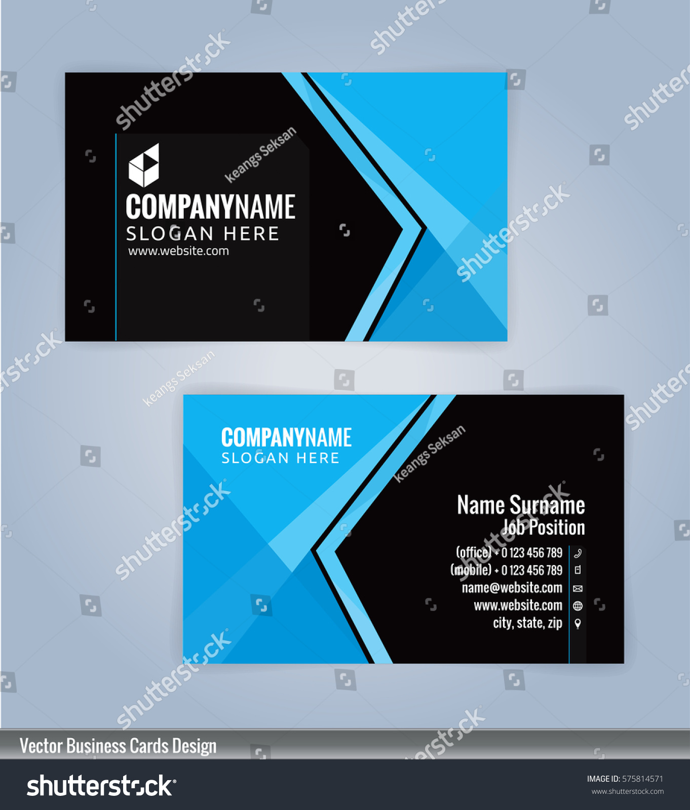 Blue black modern business card template stock photo photo vector blue and black modern business card template illustration vector 10 fbccfo Image collections