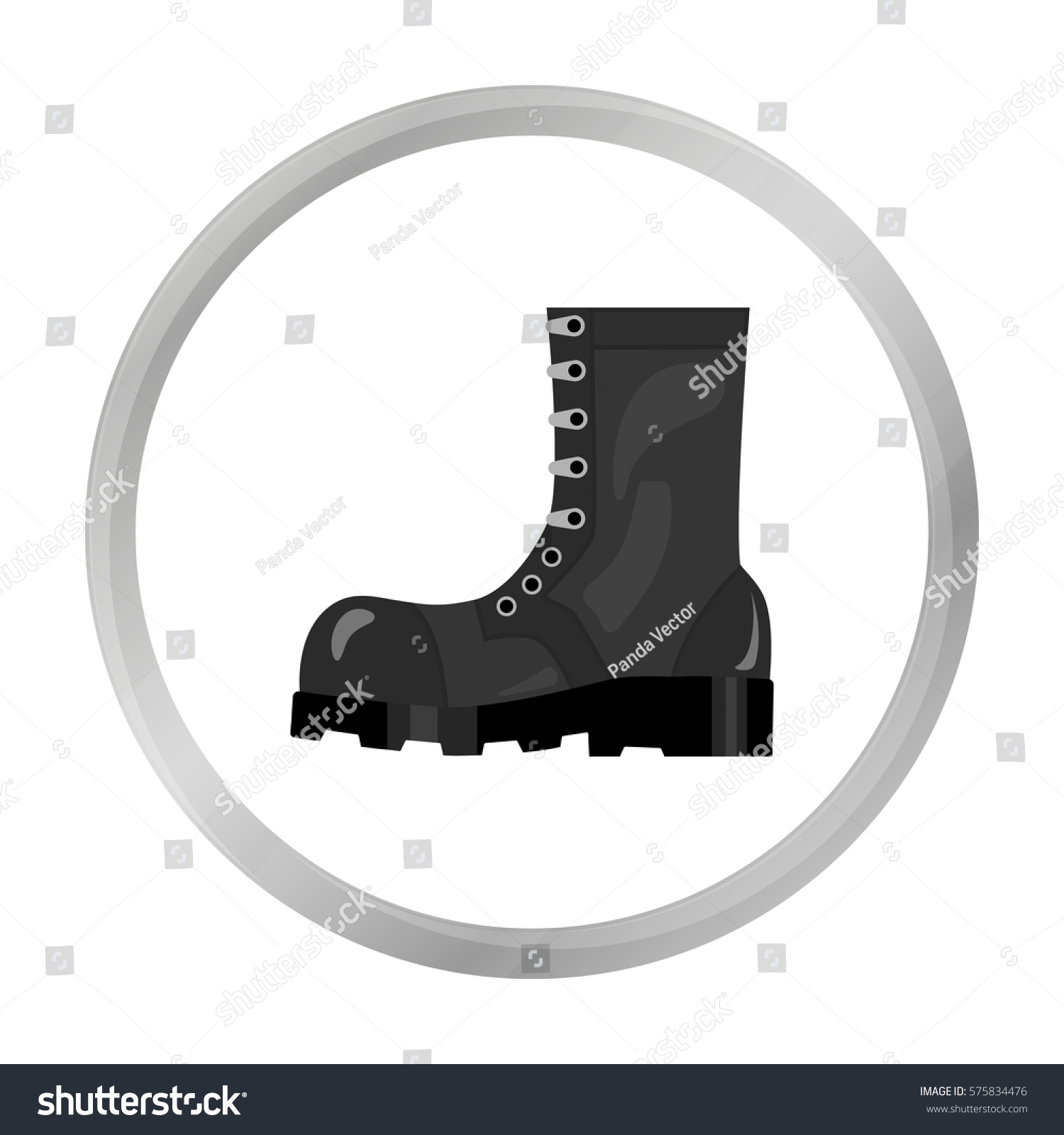Army Combat Boots Icon Monochrome Style Stock Vector Hd Royalty