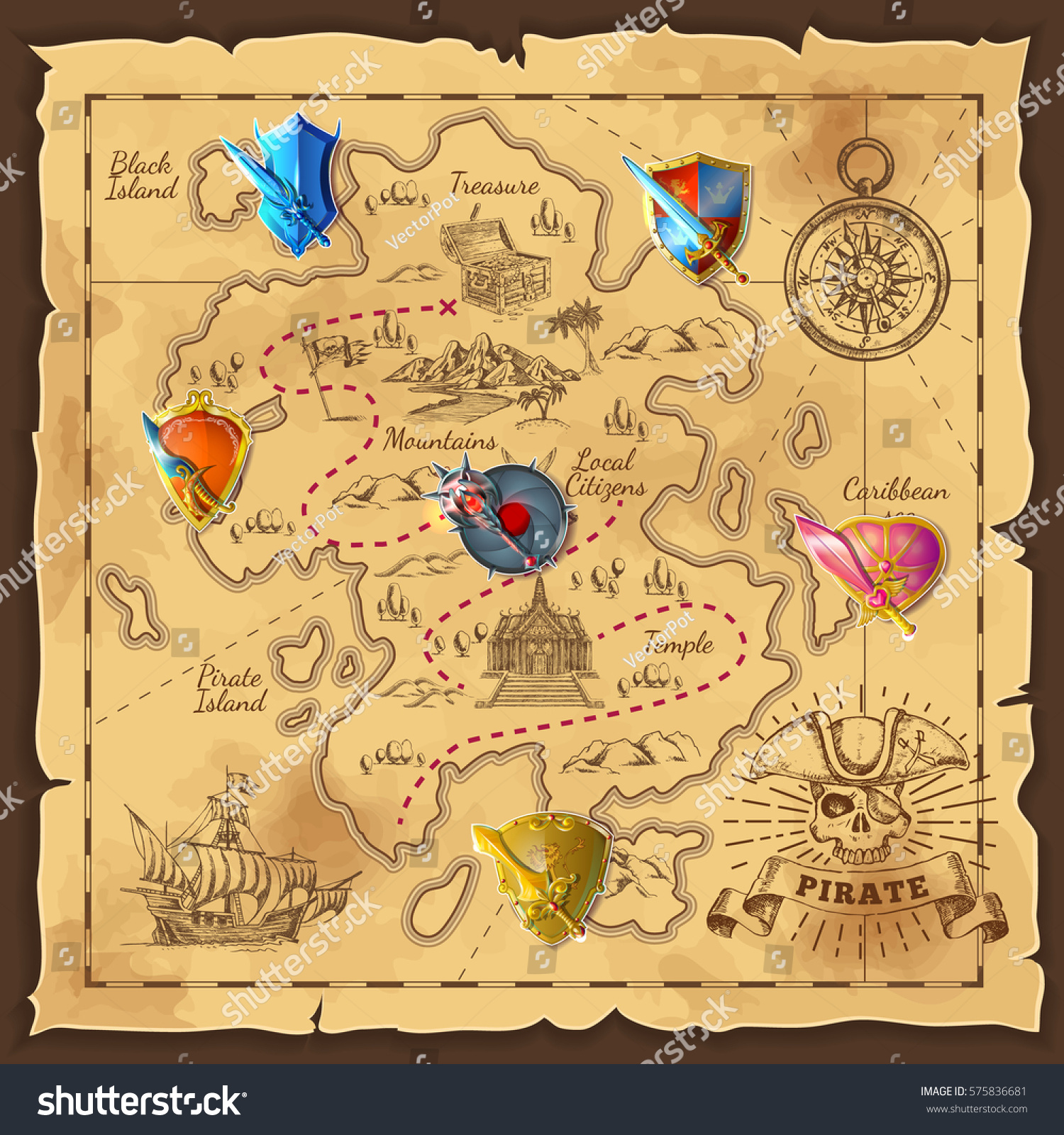 Cartoon Island Map Template Medieval Colorful Stock Vector ...