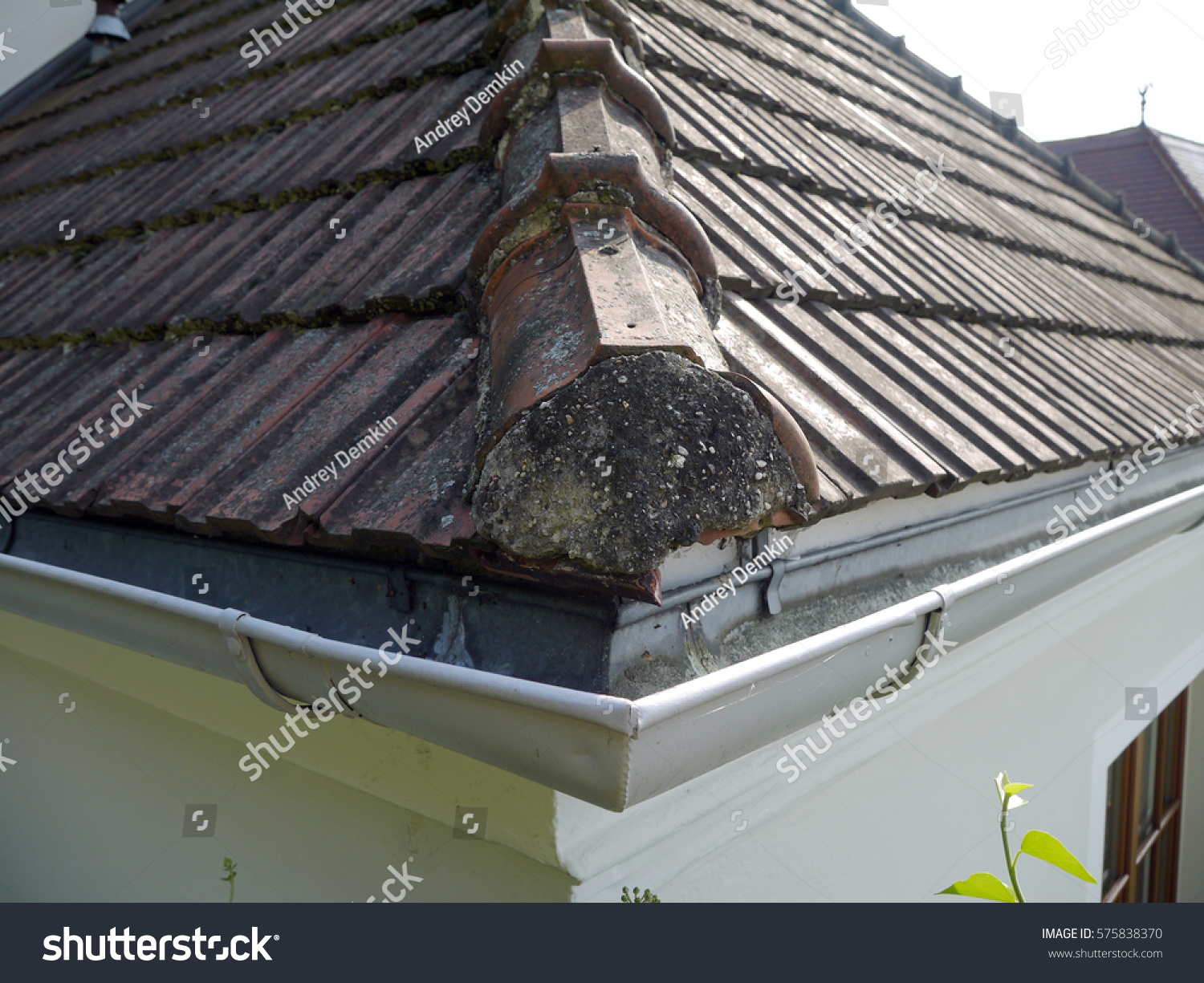 Corner house gutters ceramic tile roof stock photo 575838370 corner of the house with gutters and ceramic tile roof dailygadgetfo Images