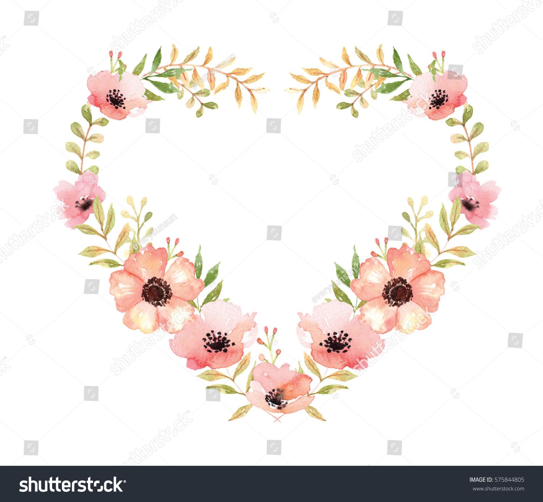 Heart Bouquet Watercolor Flowers Clip Art Stock Illustration ...